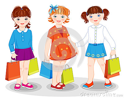 Little girls with bags.