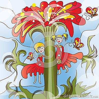 Little girls on big flower