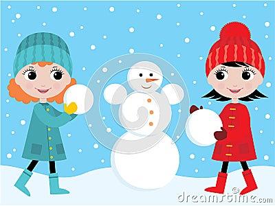 Little girls build the snowman
