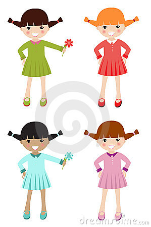 Little girls with different color clothing