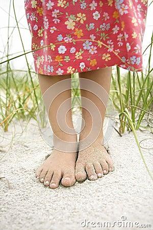 Little Girls Feet in the Sand
