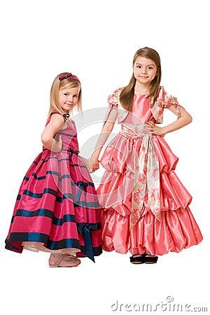Little girls in a long dress