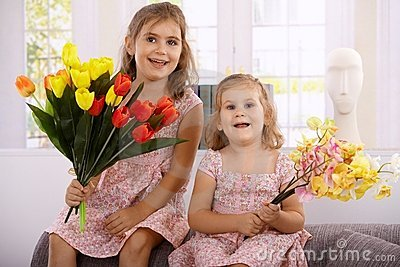 Little girls at mother s day smiling