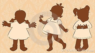 Little girls on the ornate background