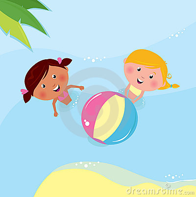 Little girls playing with ball in the sea