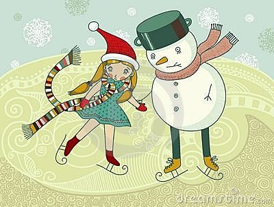 Little girls and snowman ice-skating