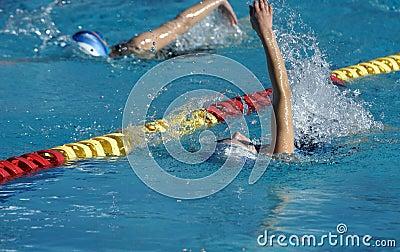 Little Girls Swimming Backstroke