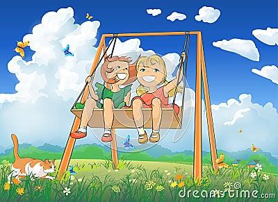 Little girls on swing