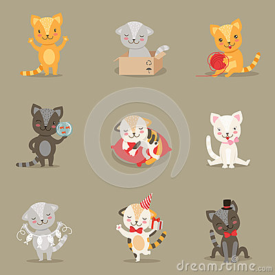 Free Little Girly Cute Kittens Cartoon Characters Different Activities And Situations Set Royalty Free Stock Photography - 84068367