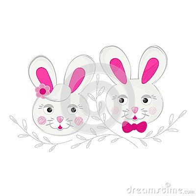 Little rabbit couple with pink