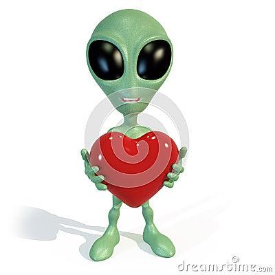 Little green alien holding a red heart