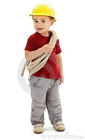 Little handyman with rope