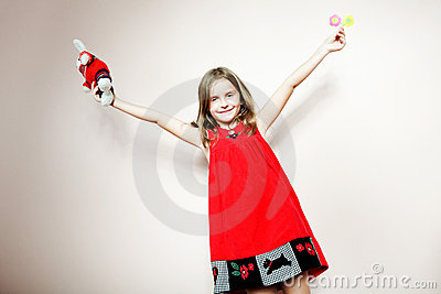 Dress on Little Happy Girl Posing In A Red Dress  Stock Photo   Image  20924370