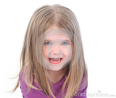 Little Happy Girl on White Background