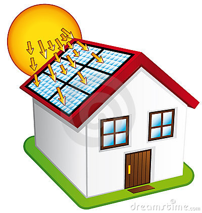 Little House With Solar Panels. Royalty Free Stock Photos - Image ...