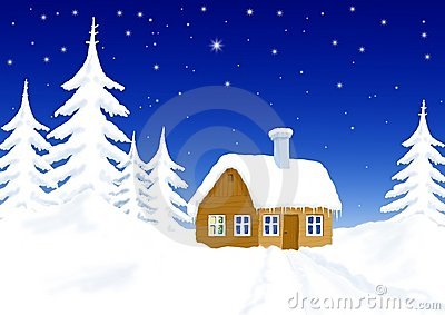 Little house in winter scenery