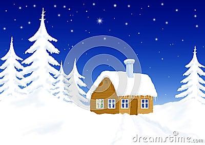 Little house in winter scenery