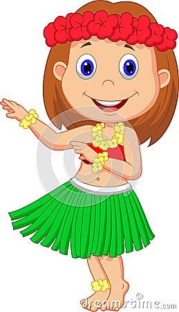 Little Hula Girl Cartoon Stock Photo - Image: 33243440