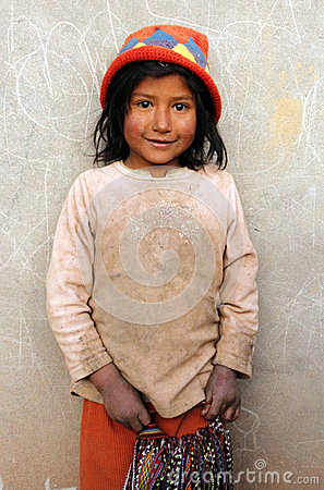 Little indigenous girl from Peru Editorial Image