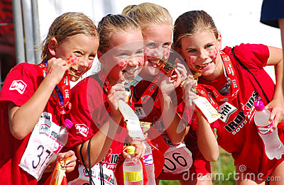 Little Ironkids athletes with medals Editorial Photo