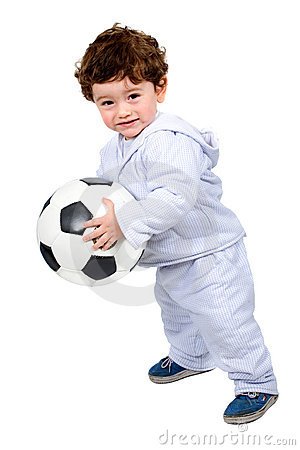 Little kid with a football