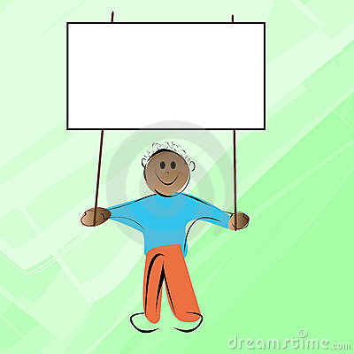 Little kid holding banner