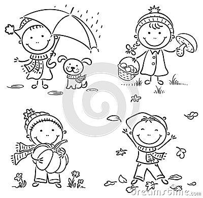 Little Kids' Autumn Activities Stock Vector - Image: 44787580