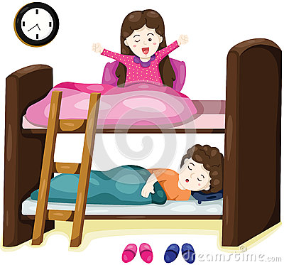 Little Kids On Bunk Bed Stock Vector - Image: 42317731