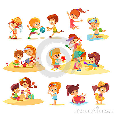 Kids Playing At The Beach Cartoon