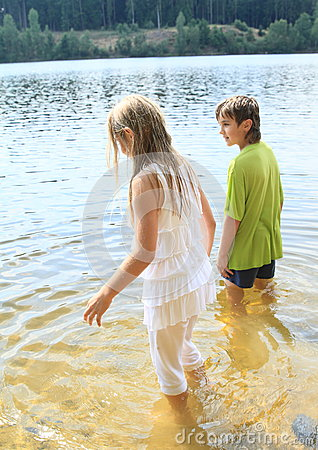 Little Kids In Water Stock Photo Image 42628716