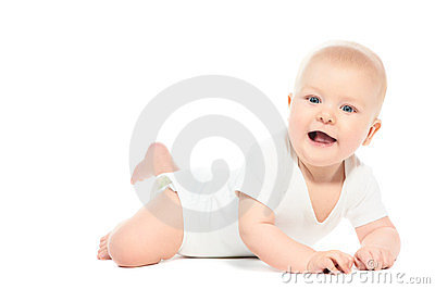 Little laughing crawling baby on white