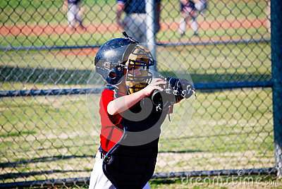Youth baseball catcher