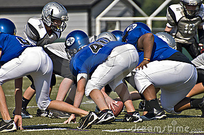 Little League Football, Close Up Line of Scrimmage Editorial Stock Image