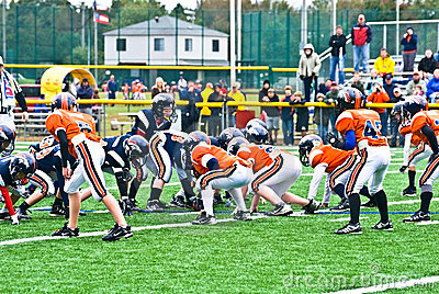 Little League Football Scrimmage Line Editorial Stock Photo
