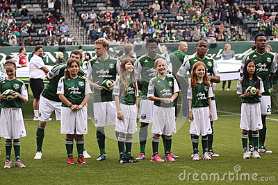Little league  and Major League Portland Timbers Editorial Stock Photo