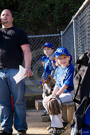 Little League  team on the bench. Editorial Image