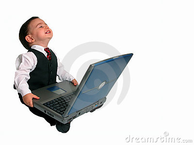 Little Man Series: Happy with His Laptop