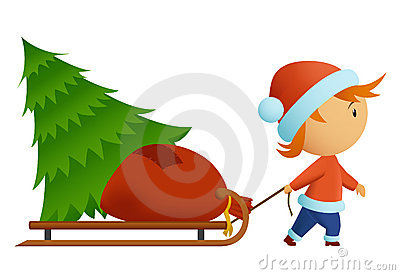 Little men in christmas nat carry tree and bag wit