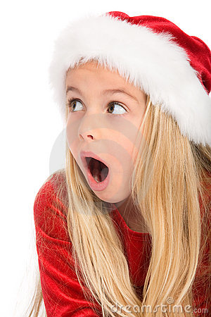 Little miss santa amazed