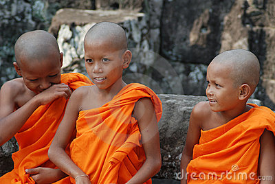 Little monks in Cambodia Editorial Stock Image
