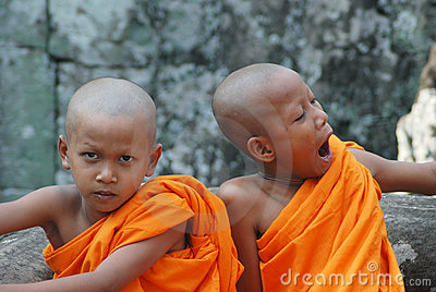 Little monks in Cambodia Editorial Photo