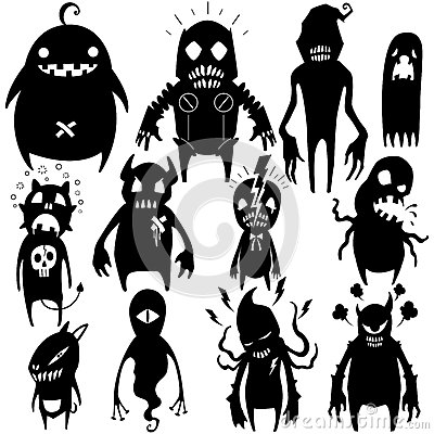 Free Little Monsters Set 02 Royalty Free Stock Images - 42694859