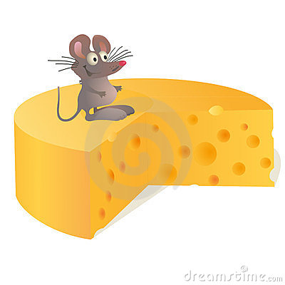 Little mouse near big cheese