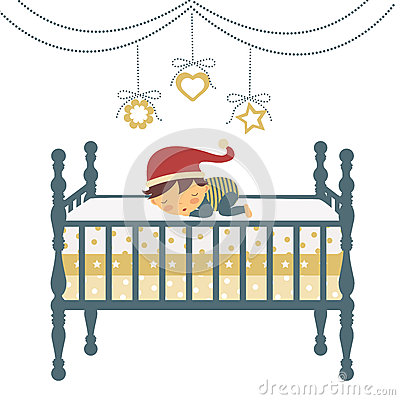Little newborn boy in Santa`s hat sleeping