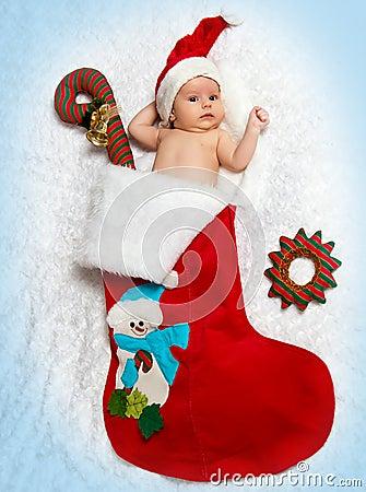 Free Little Newborn  St. Nicholas In New Year S Bootee Stock Photo - 27429750