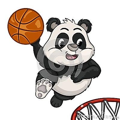 Little panda is playing basketball Vector Illustration