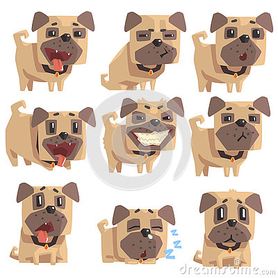 Free Little Pet Pug Dog Puppy With Collar Set Of Emoji Facial Expressions And Activities Cartoon Illustrations Royalty Free Stock Photos - 80630708