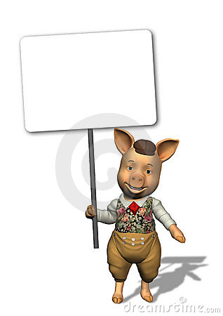 Little Pig Holding a Blank Sign