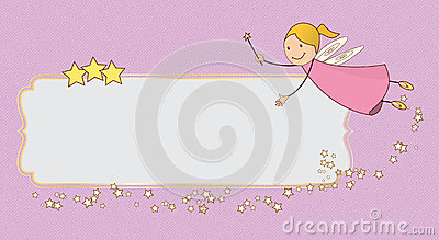 Little Pink Fairy Flying card banner