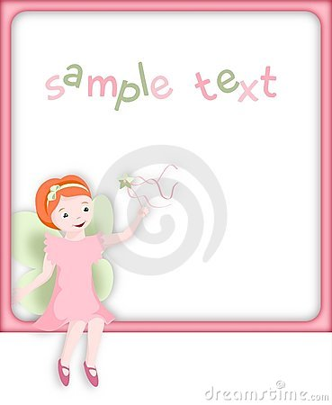 Little pink fairy in pink frame - illustration